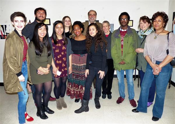WOHS Art students with WOAC members Frank Nicoletti, Lisa Suss, Amelia Panico and Carol Black Lemon