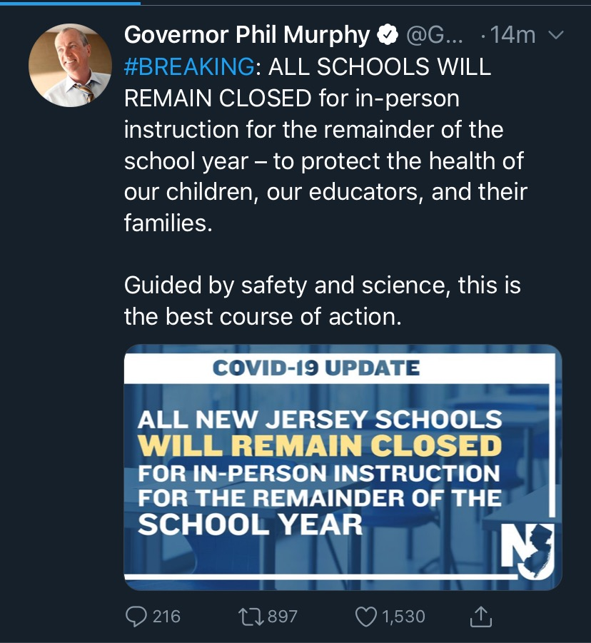 Governor+Phil+Murphy+Announces+All+NJ+Schools+Will+Remain+Closed+for+the+2019-2020+School+Year