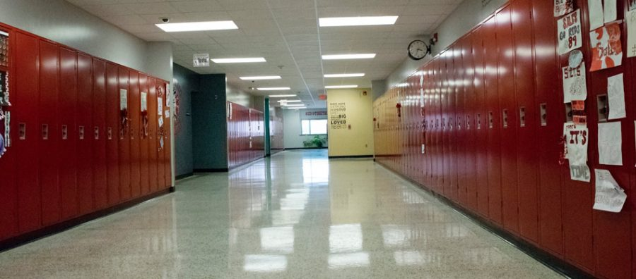 Centerville High School in Iowa is empty like many high schools across America.